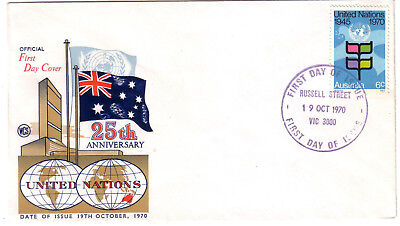 "1970 FDC. United Nations 25th Anniversary. WCS cover. FDI ""RUSSELL STREET"""