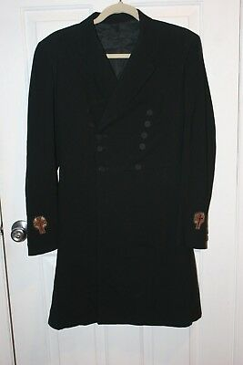 Antique MENS jacket COAT with TAIL Tailcoat Vintage wool  Religious Emblems Sm