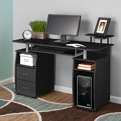 Computer Desk PC Laptop Writing Table Workstation Drawers Monitor&Printer Shelf