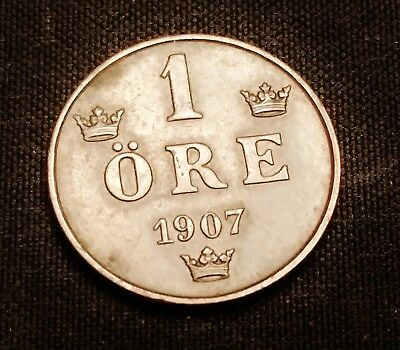 1907 Sweden 1 Ore Coin - Attractive Early Coin