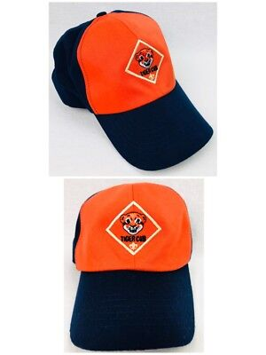 BSA BOY TIGER CUB Scout Hat BLUE ORANGE twill SMALL-MED Cap Scouts OF AMERICA