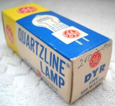**GE QUARTZLINE DYR 220v 650w PROJECTOR LAMP NOS IN ORIGINAL BOX MADE IN USA**