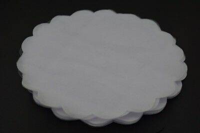 100 White Scalloped Edge Tulle Round Circles Wedding Favor 24.3cm