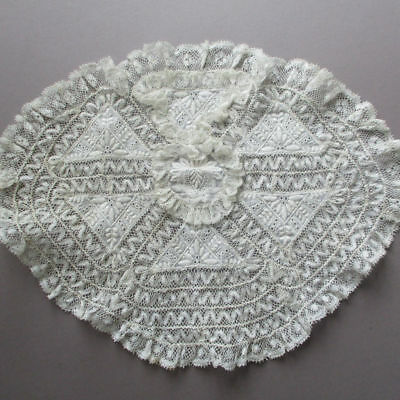 Antique French NORMANDY LACE Church CHAPEL Bridal Cap Hand Embroidered FLOWERS