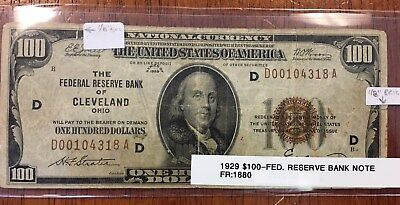 FR1880 1929 United States of America $100 National Currency Cleveland, OH