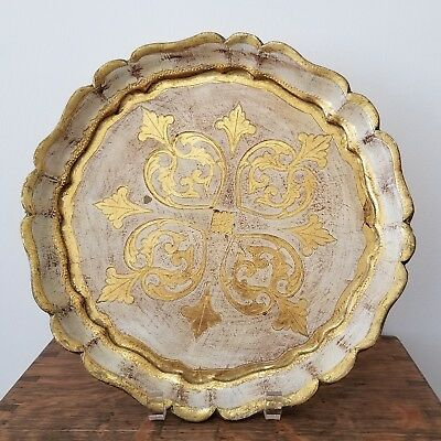 Vintage Italian Florentine Tole Round Wooden  Tray Ivory Gold 12 in