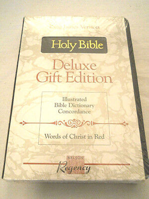 Holy Bible King James Deluxe Gift Ed. Black Gilded Pages Christ Words In Red New