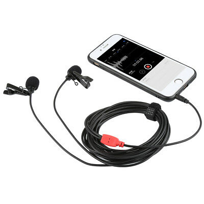 Dual-head Clip-on Lapel Mini Lavalier Microphone Mic For Smartphone/Camera/Gopro