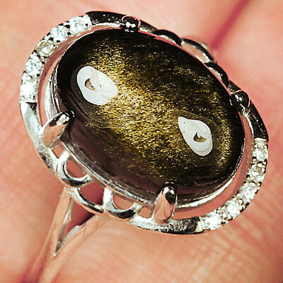 16CT 100% Natural 18K Gold Plated Golden Obsidian Ring UDGO189