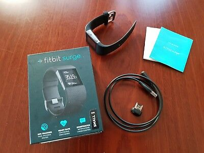 Fitbit Surge Wireless GPS Heart Rate Smart Watch Black Small - Preloved