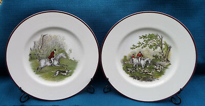 Pair of Full size Crown Staffordshire Fox Hunting Bone China Plates with Stands