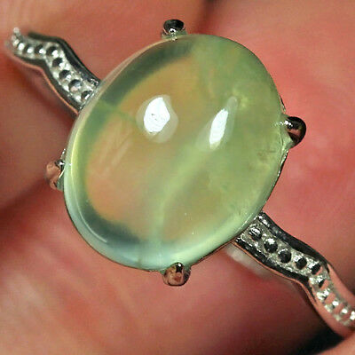 11.85CT 100% Natural 18K Gold Plated Green Prehnite Cab Ring UDPG138