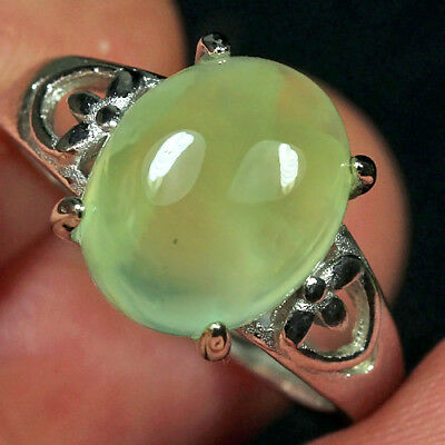 16.85CT 100% Natural 18K Gold Plated Green Prehnite Cab Ring UDPG141