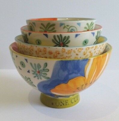 New Anthropologie Floral Ceramic Stacking Measuring Cups RRP$38