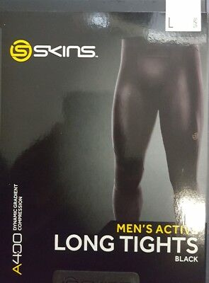 A400 Mens Skins Compression long tight Black SIZE Large RRP $189.99