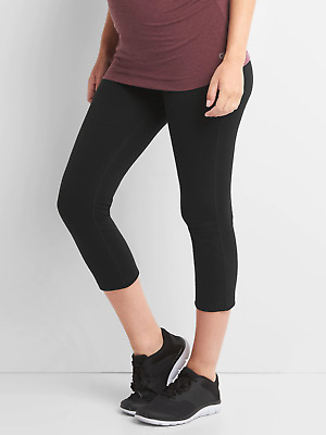 Gap Black Breathe Gfast Full Panel Maternity Capri-XL-NWT