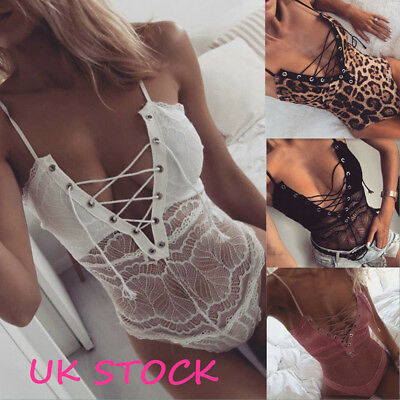 UK Lace UP Strappy Plunge V Neck Full Lace Bodysuit Womens Bodycon Tops Lingerie