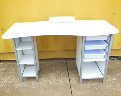 1X New White Manicure Table w/Trays & Compartments