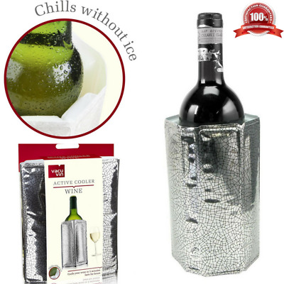 Vacu Vin Rapid Ice Wine Bottle Cooler Active Chiller Sleeve Quick Cooling Silver
