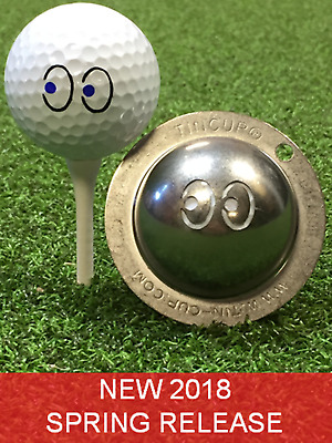 1 only TIN CUP GOLF BALL MARKER - EYES ON THE PRIZE- YOURS FOR LIFE & EASY TO DO