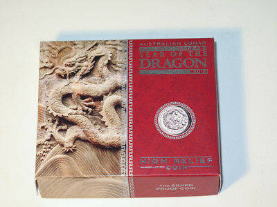 2012 $1 Australia Year of the Dragon High Relief Proof Silver Coin #2433