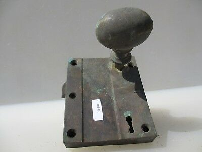 Georgian Bronze Door Lock Oval Knob Handle Antique Bolt Victorian Old Brass Jail