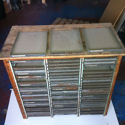 PRINTERS TYPE / FOIL BLOCKING DRAWED CABINET. Vintage Piece of  Print History