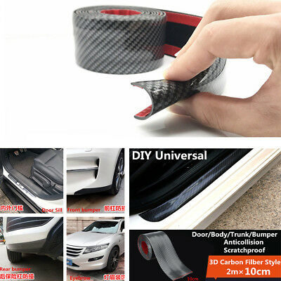 2M*10cm Protector Side Body Skirt Eyebrow Grill Decoration Carbon Fiber Color