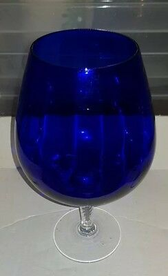 Jumbo balloon glass - blue with clear glass base approx. 24cm tall