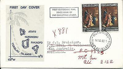 1969 FDC Christmas 2 x 2cent Stamps to Australia Then Redirected on 1st Outgoing