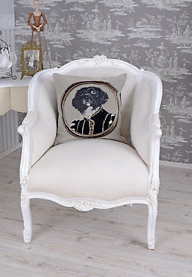 BERGERE CHAIR LOUIS XV Baroque Style White Armchair