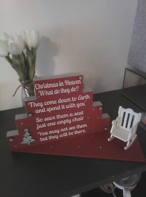 christmas in heaven block plaque with chair