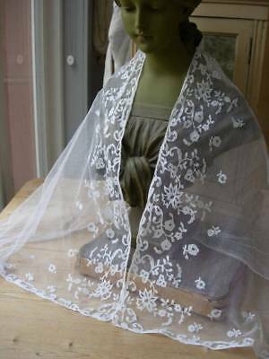 Antique French handmade tulle lace veil - wedding 1880s