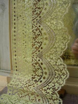 5 metre length unused primrose yellow & silver metallic 1920s French lace (A)