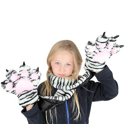 New Boys Girls Kids Childrens Snow Tiger Scarf With Claw Hand Pockets Fab Gift