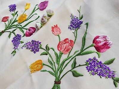 Lovely Vintage Hand Raised Embroidered Linen Tablecloth with Tulips & Hyacinths