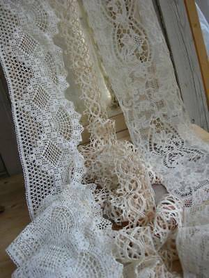 3 antique French handmade wide lace edgings & inserts 1910 approx 10 metres