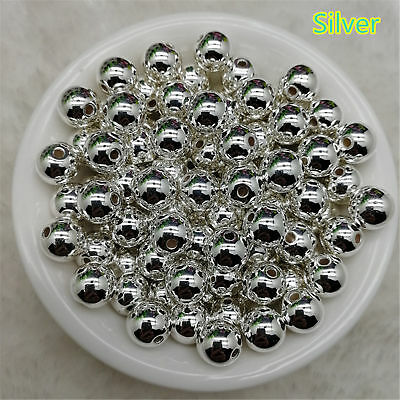 4/ 6/ 8/ 10mm Silver Acrylic Round Pearl Spacer Loose Beads Jewelry Making  DIY