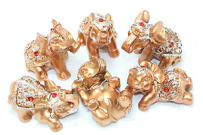 SIX Gold Lucky Elephants Statues Feng Shui Figurine Home Decor Gift ~ US Seller