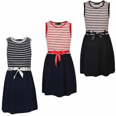 Girls Summer Sleeveless Dress Contrast Textured Casual Party Top Belted 3-14 Y