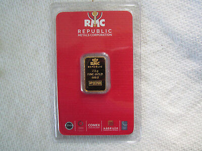 2.5 gram RMC Gold Bar - Republic Metals Corp - 999.9 Fine Gold in Sealed Assay