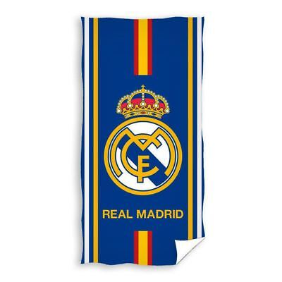 Real Madrid Cf Blue Stripe Beach Bath Towel Football Club Crest Cotton Large