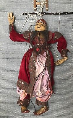 Burmese Traditional Marionette Wooden Hand Carved Puppet Antique Myanmar String