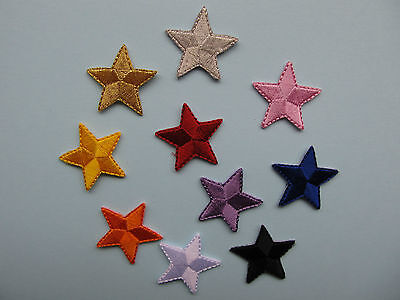 """Star Iron on Applique patch 1 inch 1"""" x 10 **DIFFERENT COLOURS***"""