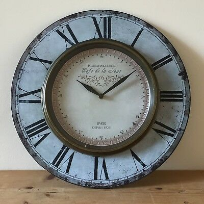 Large Vintage Station Style WALL CLOCK Antique brass face Wooden Roman Numerals