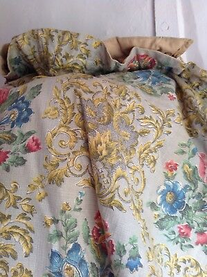 """Vintage French Curtains Red Yellow Blue Floral Cotton 70""""x46"""" Home Decor"""