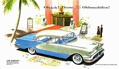 Print.  Green/Blue 1956 Oldsmobile Ninety-Eight De Luxe Holiday Sedan Auto Ad