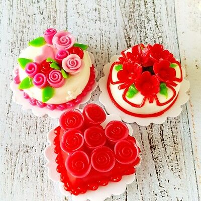 3x Red Rose Cake Dollhouse Miniature Food Bakery Barbie Decor Tiny Valentine Day