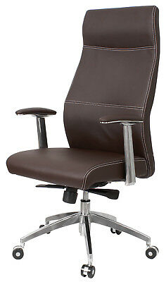 Chair Office Swivel Genius Armrest Adjustable Anti-shock Simile Leather Brown