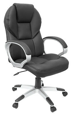 Chair Office Swivel Planet Armrest Leather Adjustable Anti-shock Black